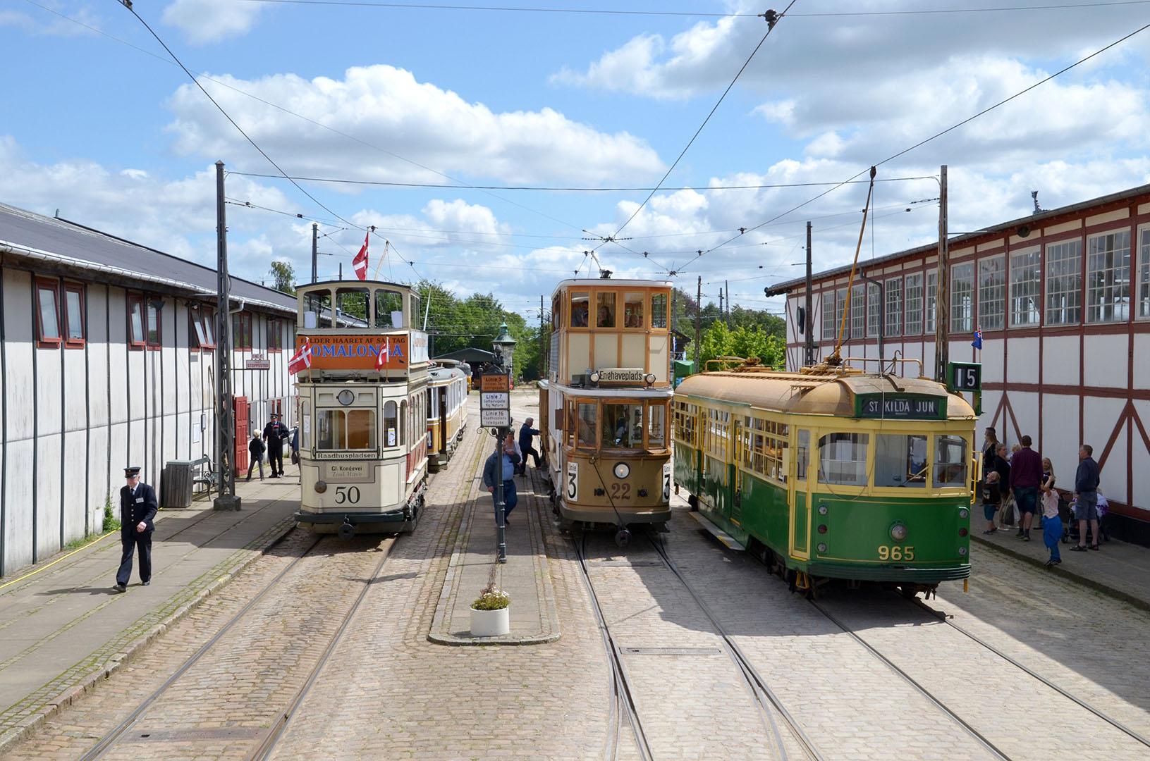 Sporvejsmuseet_5_trams_Sporvejsmuseet