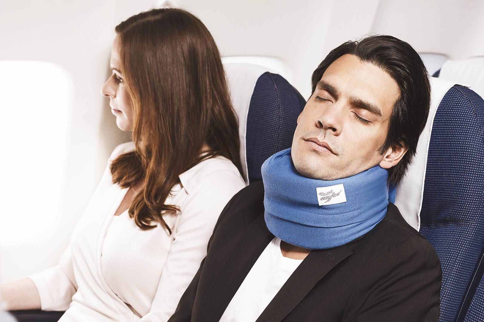 Eezyflow sleep collar, Unique Swedish innovation helps social snorers, Plane couple, Scan Magazine, August 2019
