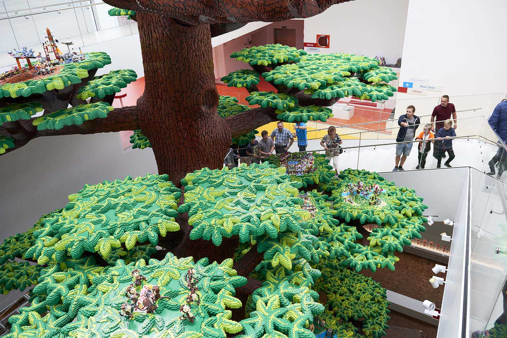 The Tree of Creativity is the largest and most complex structure ever built in LEGO bricks. It represents the LEGO Group's journey from the early days when LEGO bricks were made of wood – the stem – to the future: the top of the tree is unfinished, and a crane continues the journey upwards. LEGO House