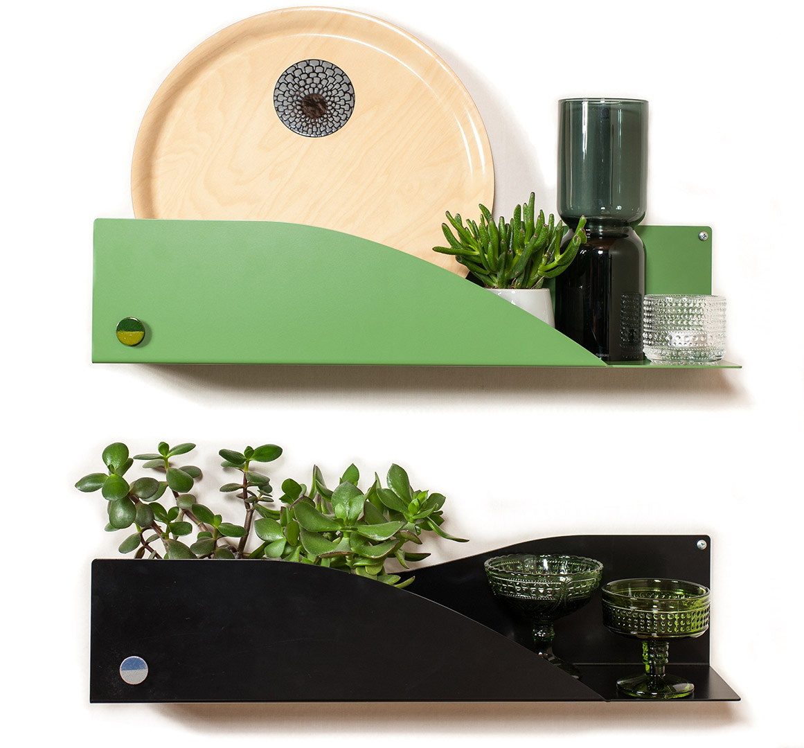 Saimaa shelves in green and black. Pauliina Rundgrén HandiCrafts, Designing products with a purpose, Scan Magazine