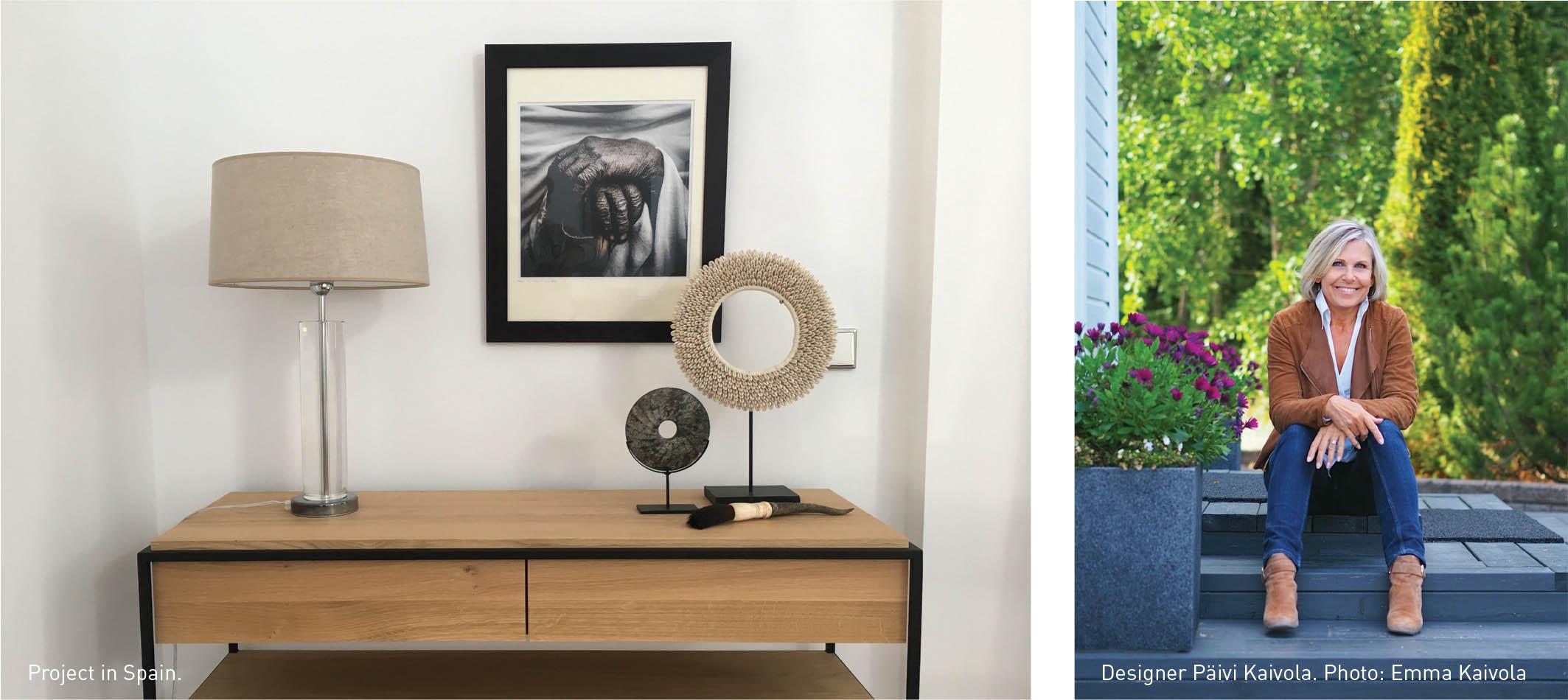 Left: Project in Spain. Right: Designer Päivi Kaivola. Photo: Emma Kaivola. Sisustamo, Designing practical and beautiful spaces, Scan Magazine