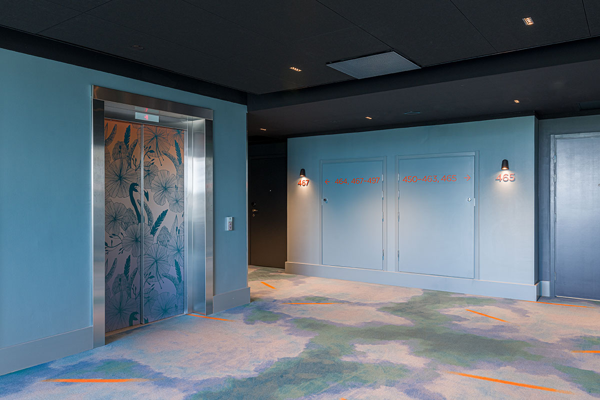 Rune & Berg Design is responsible for Sokos Hotel Flamingo's spatial and graphic design, including wallpaper designs and the look for each room and the signage.
